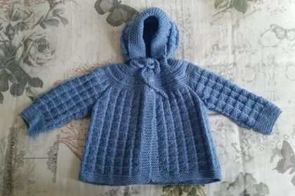 Hand Knitted Hooded Baby Jacket - Blue - 6-12 Months