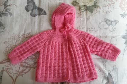 Hand Knitted Hooded Baby Jacket - Pink (6-12 months)
