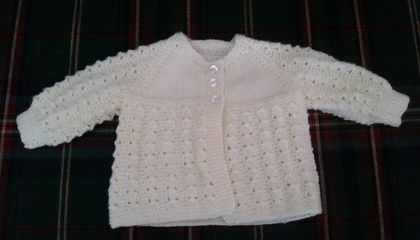 Hand Knitted Cream Matinee (3 Months)