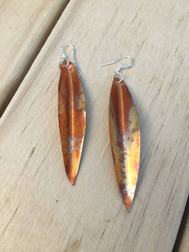 Speckled copper leaf earrings