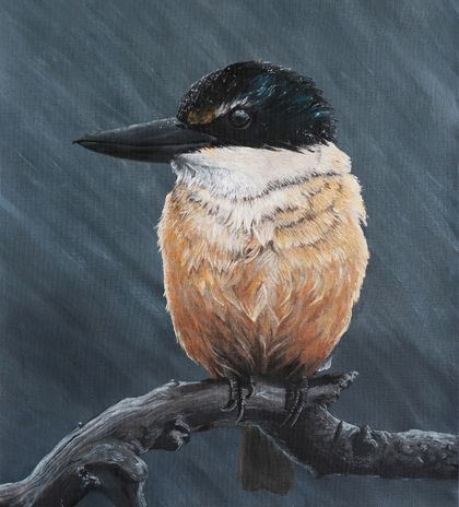 (Original) Kingfisher painting on canvas paper