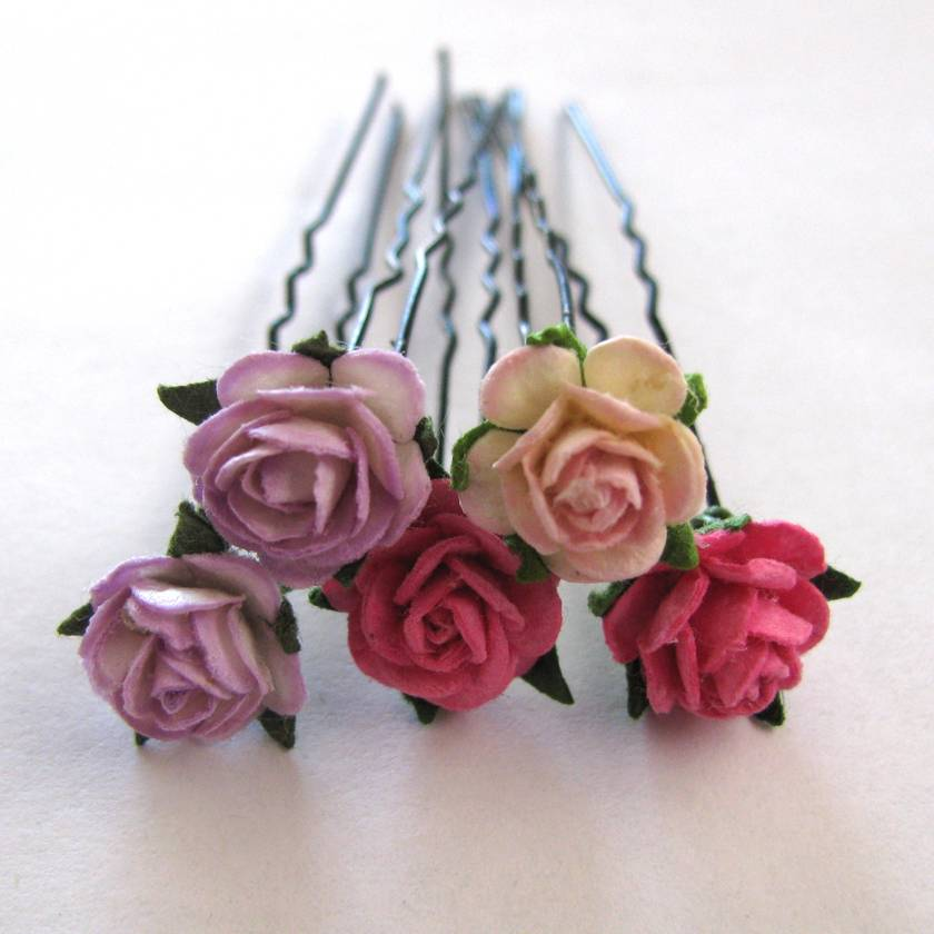 5 Assorted Mini Rose Hair Pins