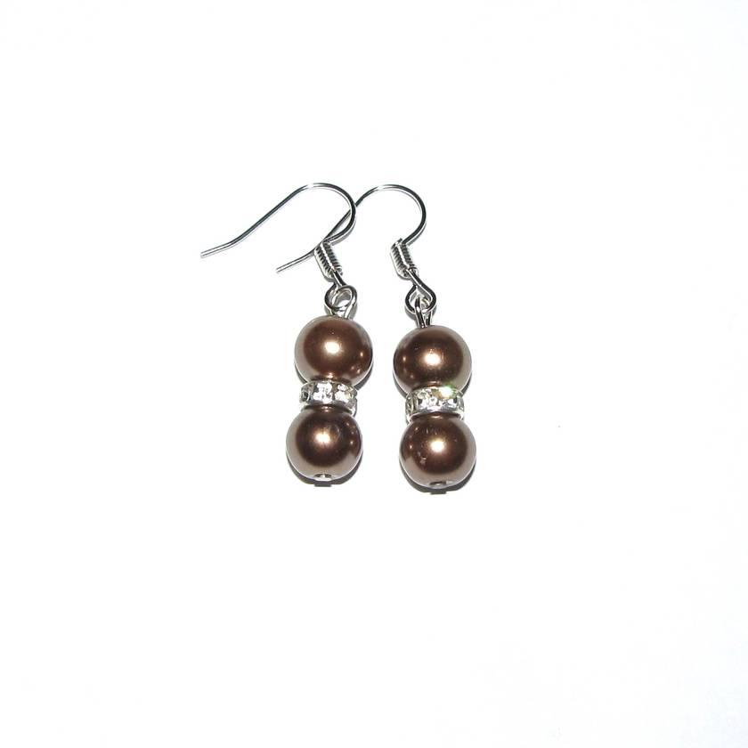 Brown Pearl & Diamanté Earrings