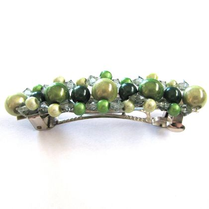 Hair barrette - green