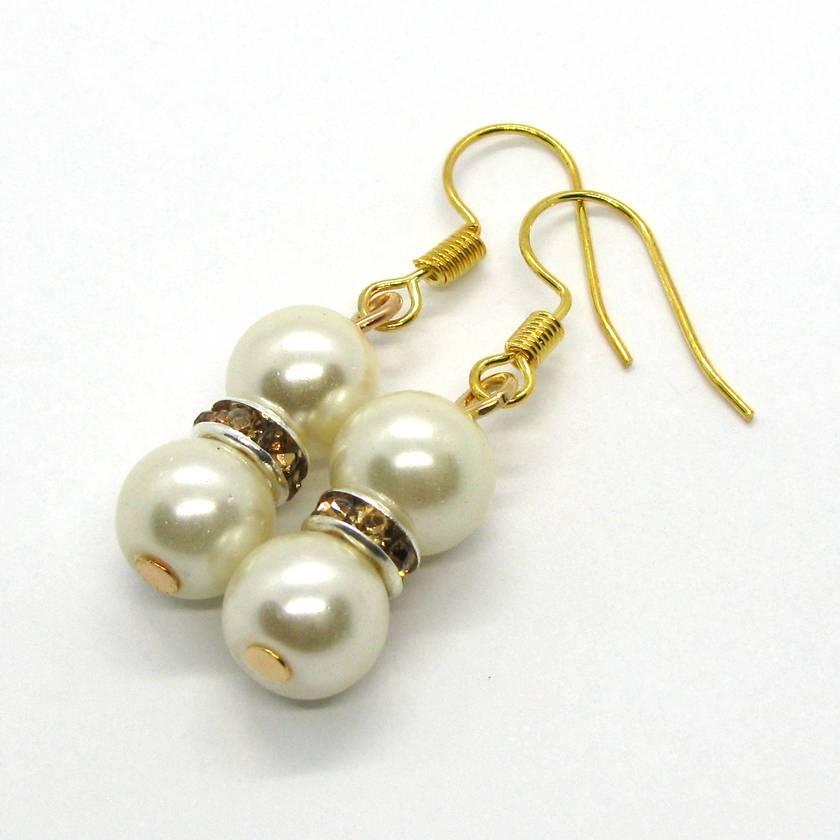 Gold & White Pearl Diamanté Earrings