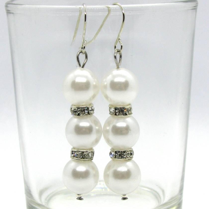 Triple Drop White Pearl & Diamanté