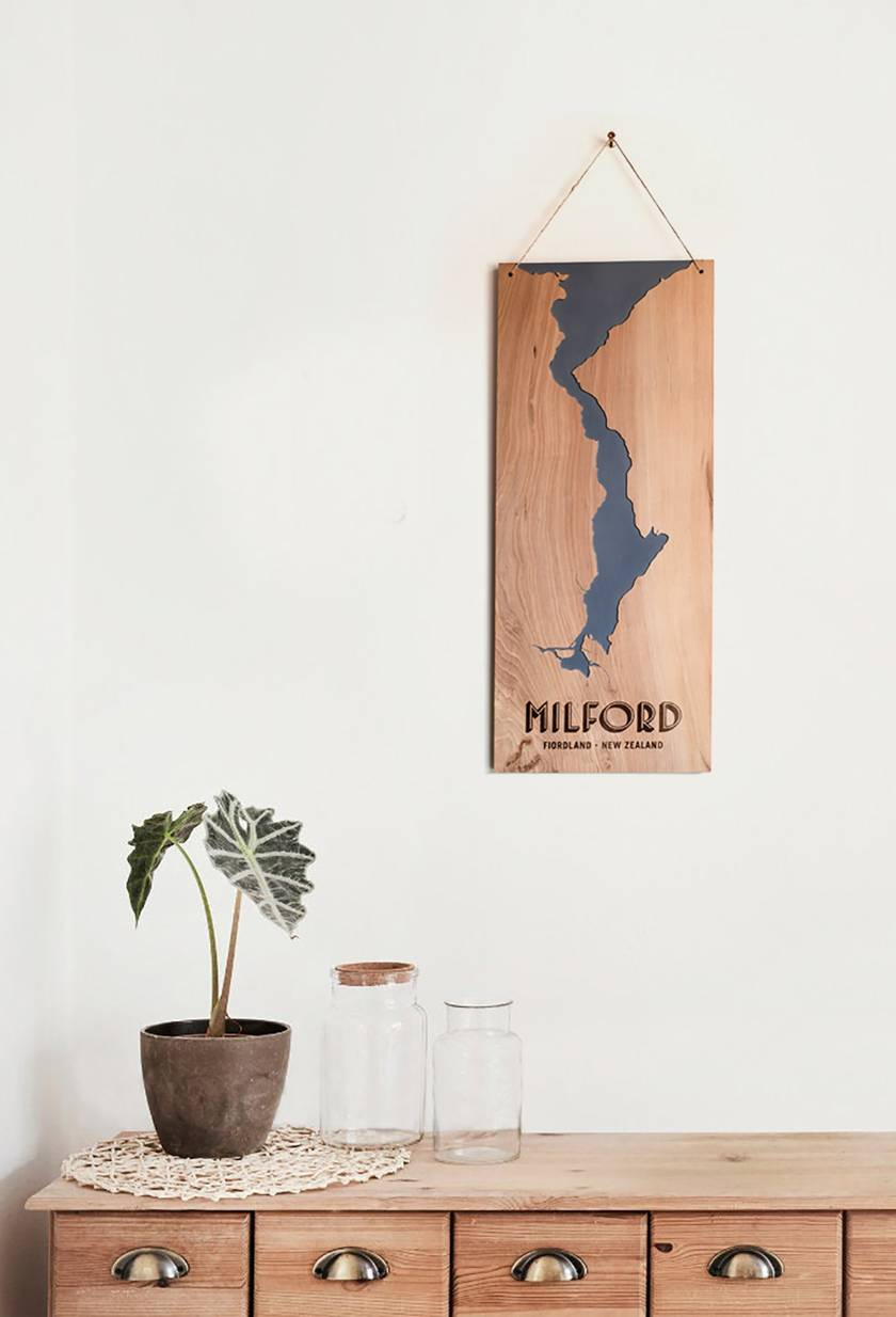 Milford Sound, New Zealand, Vintage Reclaimed Timber Carved Art Wall Hanging