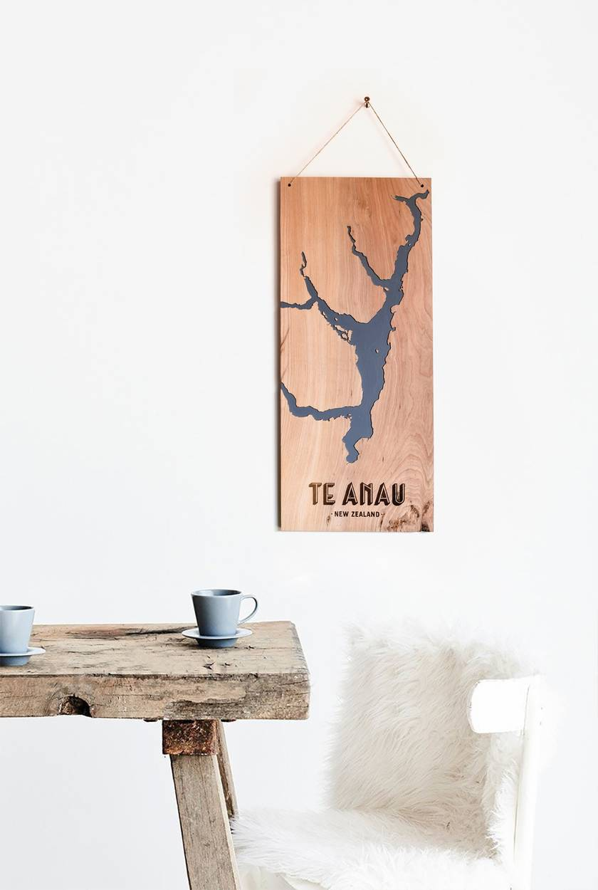 Lake Te Anau, New Zealand, Reclaimed Timber Carved Art Wall Hanging
