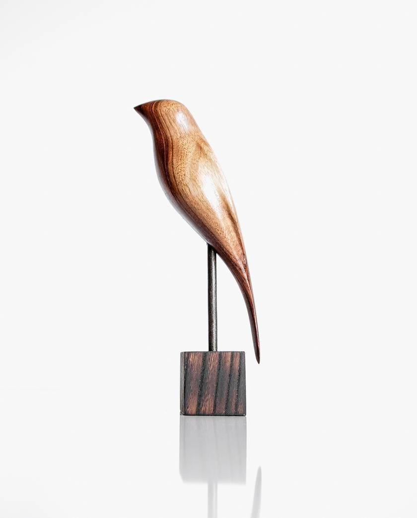 Hand Carved Wooden Bird - New Zealand Bellbird