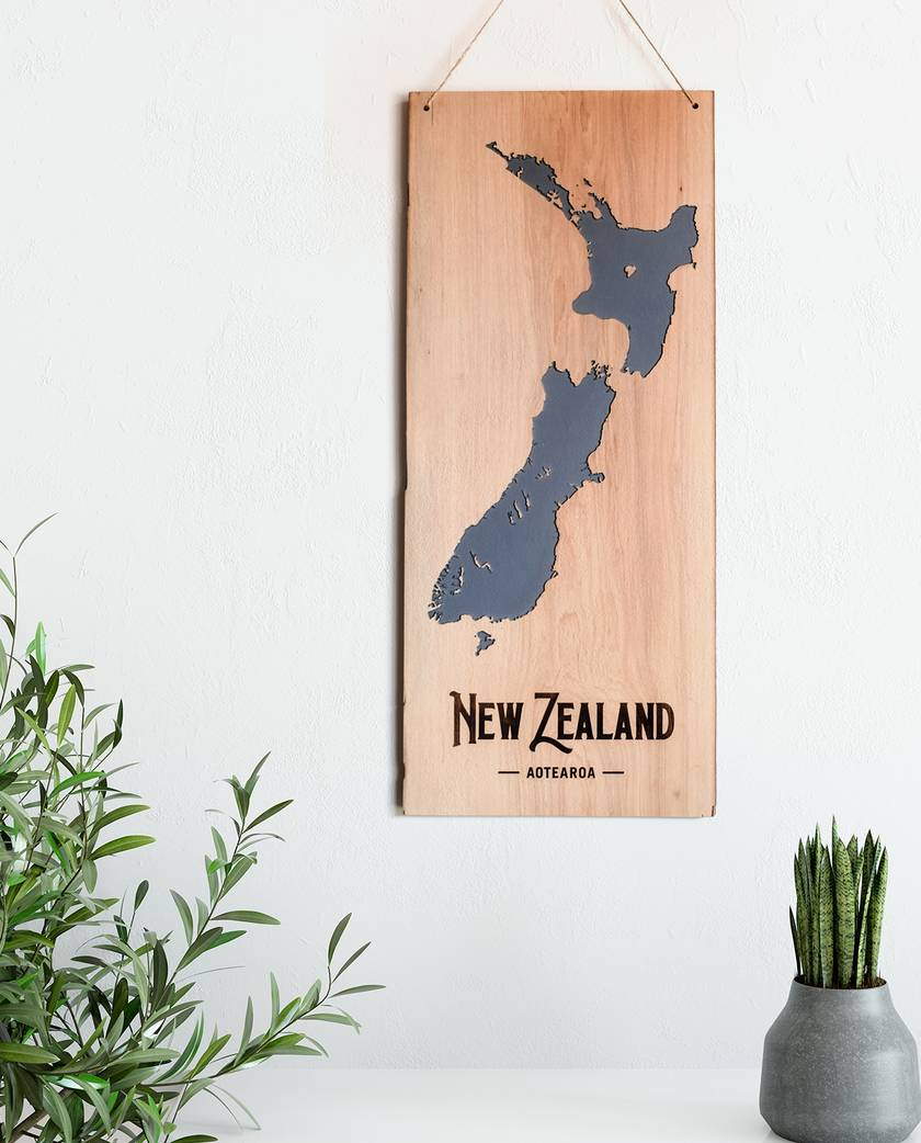 New Zealand, Vintage Timber Carved Wall Hanging
