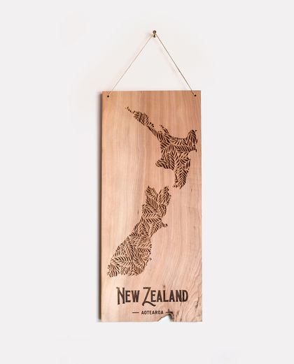 New Zealand Vintage Relief Carved Wall Hanging