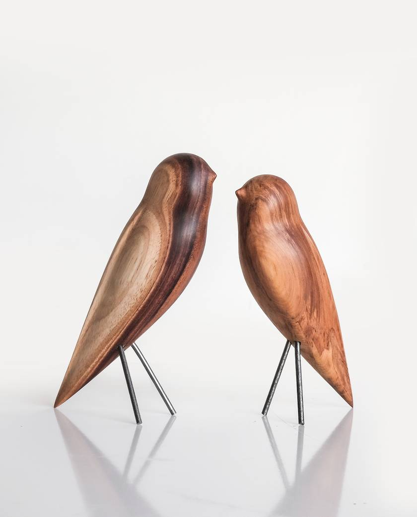 Carved Wooden Bird - South Island Robin