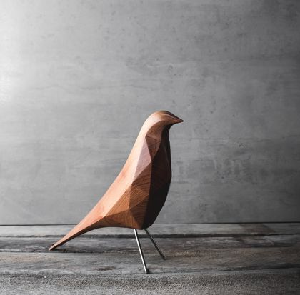 Geometric Hand Carved Bird