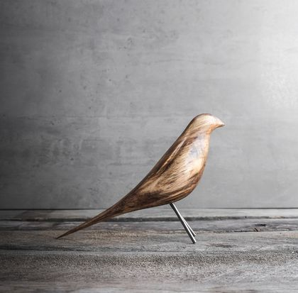 Carved Wooden Bird Sculpture (New Zealand Bellbird) Large Size