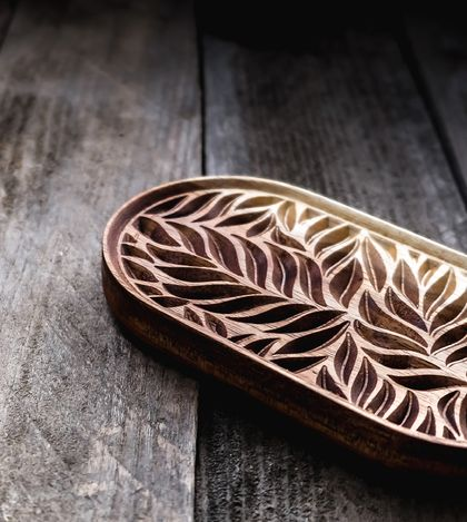 Carved Wooden Fern Leaf Soap Dish