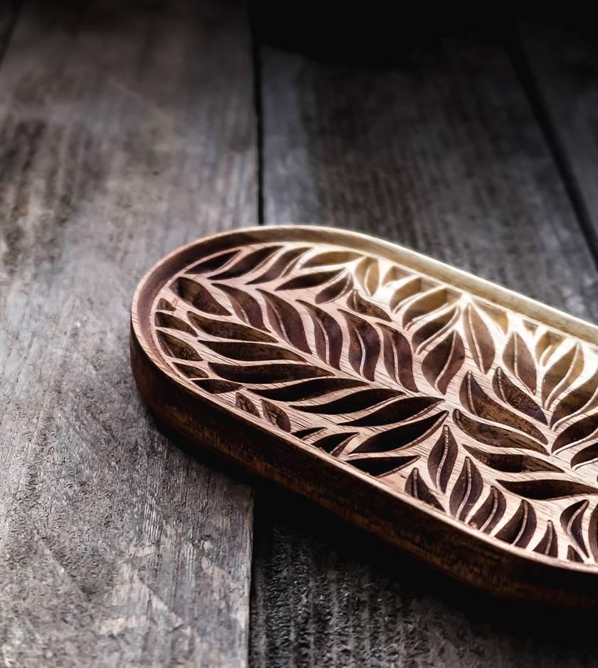 Carved Wooden Fern Leaf Soap Dish
