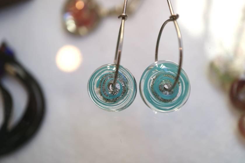 Sand Spiral Earrings Pale Blue