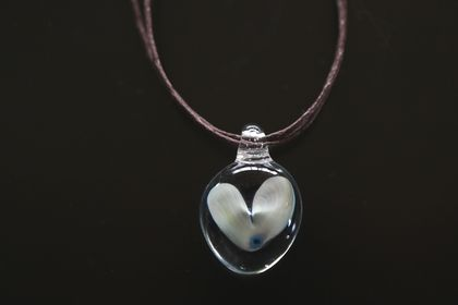 Silvery Blue/White Glass Heart Pendant with a Brown Cord