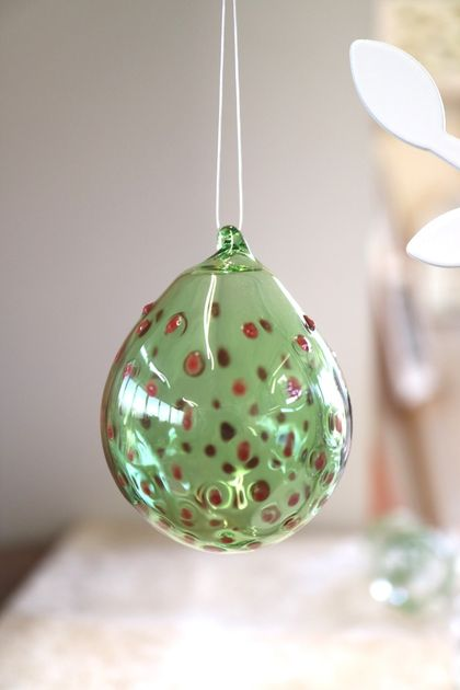 Bauble - Green with Red Polka Dots Pattern