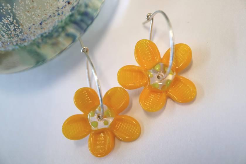 Yellow Daisy Flower Earrings
