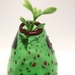 Green Bud Vase, Polka Dots Red