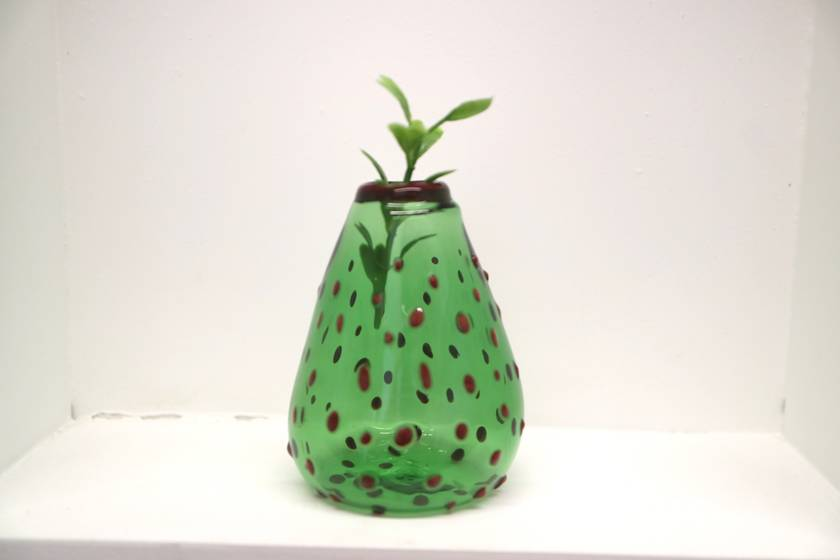 Green Bud Vase, Polka Dots Red