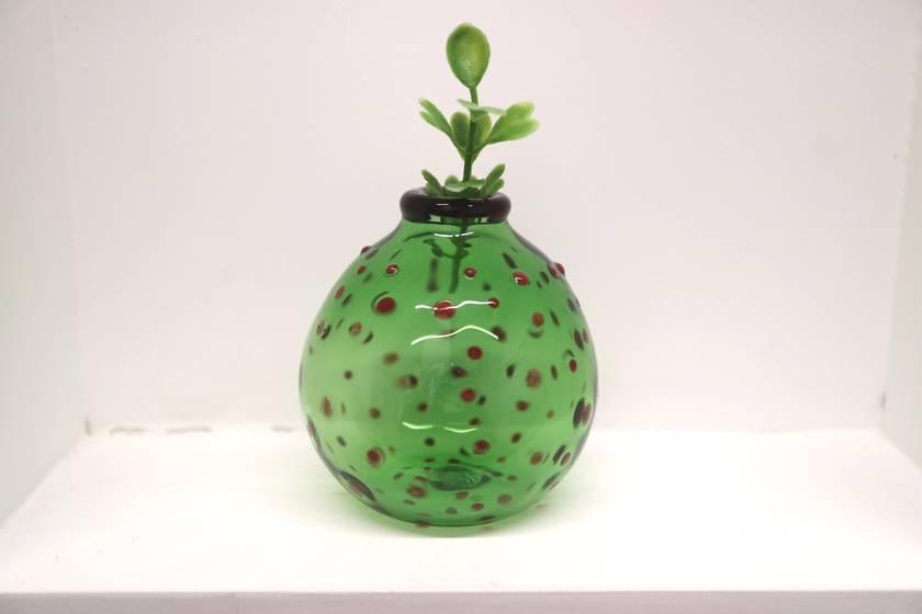 Green Bud Vase, Polka Dots Round