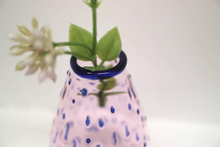 Pink Bud Vase, Polka Dots Blue