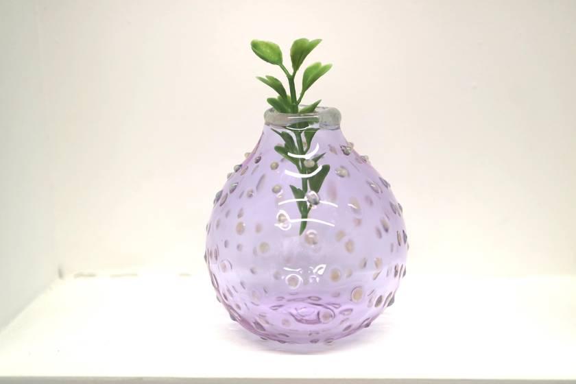 Lavender Blue Bud Vase, Polka Dots Cloud