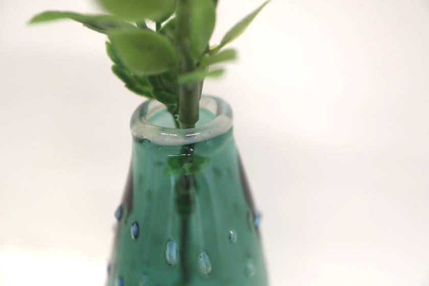 Turquoise Bud Vase, Polka Dots Cloud