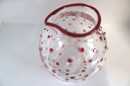 Red Polka Dot Milk Jug - Microwave Safe