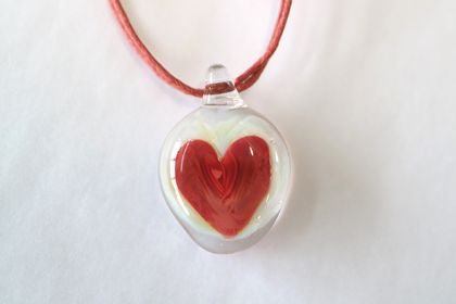 Rustic Red Glass Heart Pendant with a Matching Coloured Cord