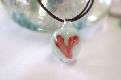 Coral Red/Pink Glass Heart Pendant with a Brown Cord