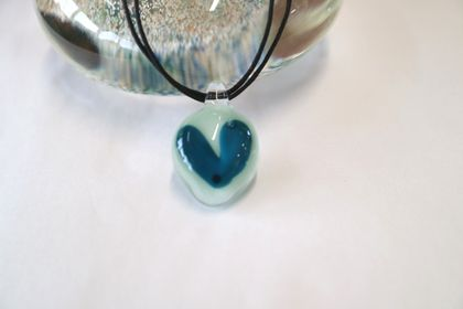 Dark Blue Glass Heart Pendant with a Black Cord