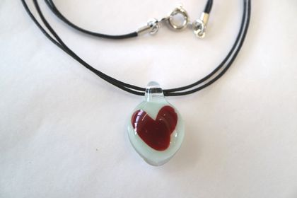 Ruby Glass Heart Pendant with a Black Cord
