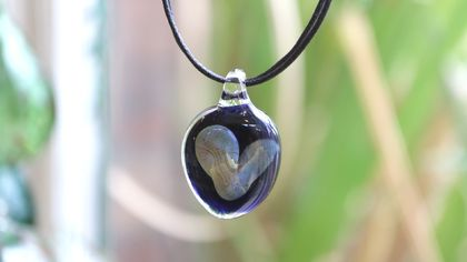 Silvery Glass Heart Pendant with a Black Cord