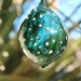 Teal Bauble with Silvery White Dots Pattern