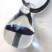 Blue Mushroom Pendant with Black Cord