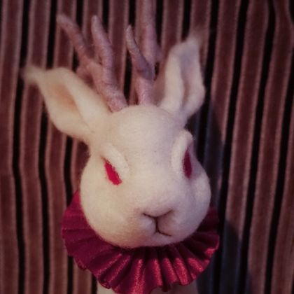 needle felt wool art doll handmade jackalope freaky rabbit, home decor, red-eyed monster/ Fairy tale character/ soft sculpture