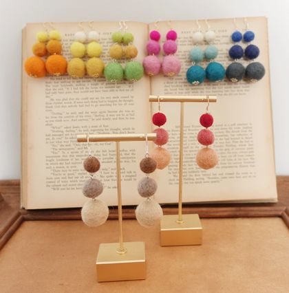Handfelted and handmade ear rings, Felt balls, pop colour felted with 925 silver hooks ear rings, gold, silver