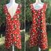 Japanese Style Cross Back Reversible Cotton/Linen Apron - Red Flower