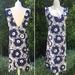 Japanese Style Cross Back Reversible Cotton/Linen Apron - Blue Flower