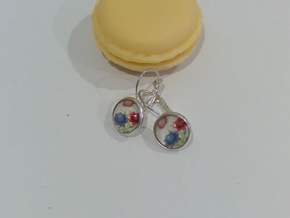 Red, White & Blue floral earrings