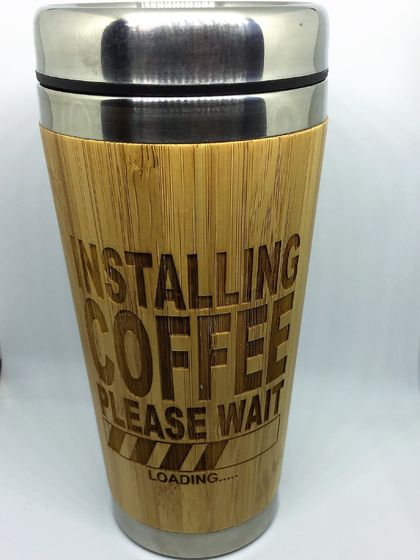Pre Xmas Sale! Eco Bamboo Travel Mug - Installing coffee - please wait