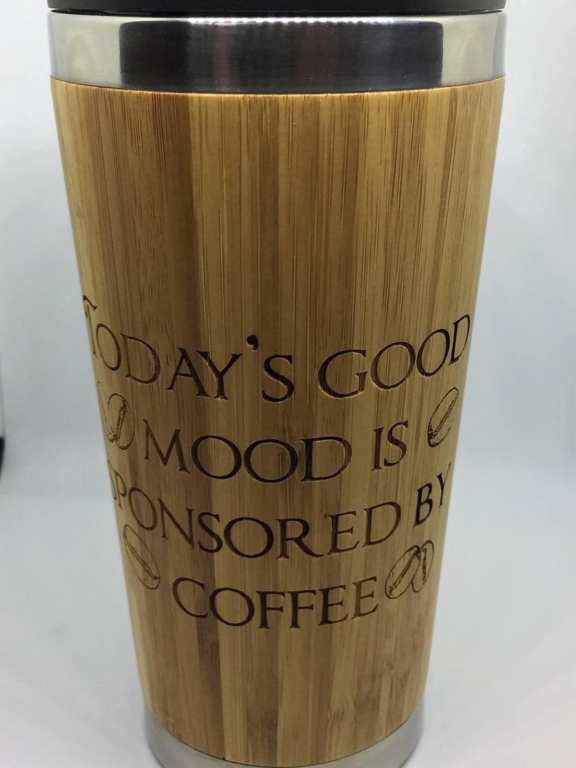 Eco Bamboo Travel Mug - Today's good mood is sponsored by coffee.