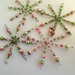 Hand beaded crystal and bead snowflakes - set of four colour coordinated