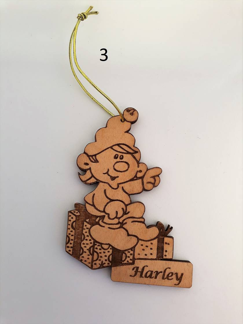 6 x Personalised birch ply Christmas decorations - choose any six (6) you want and save $8.00!