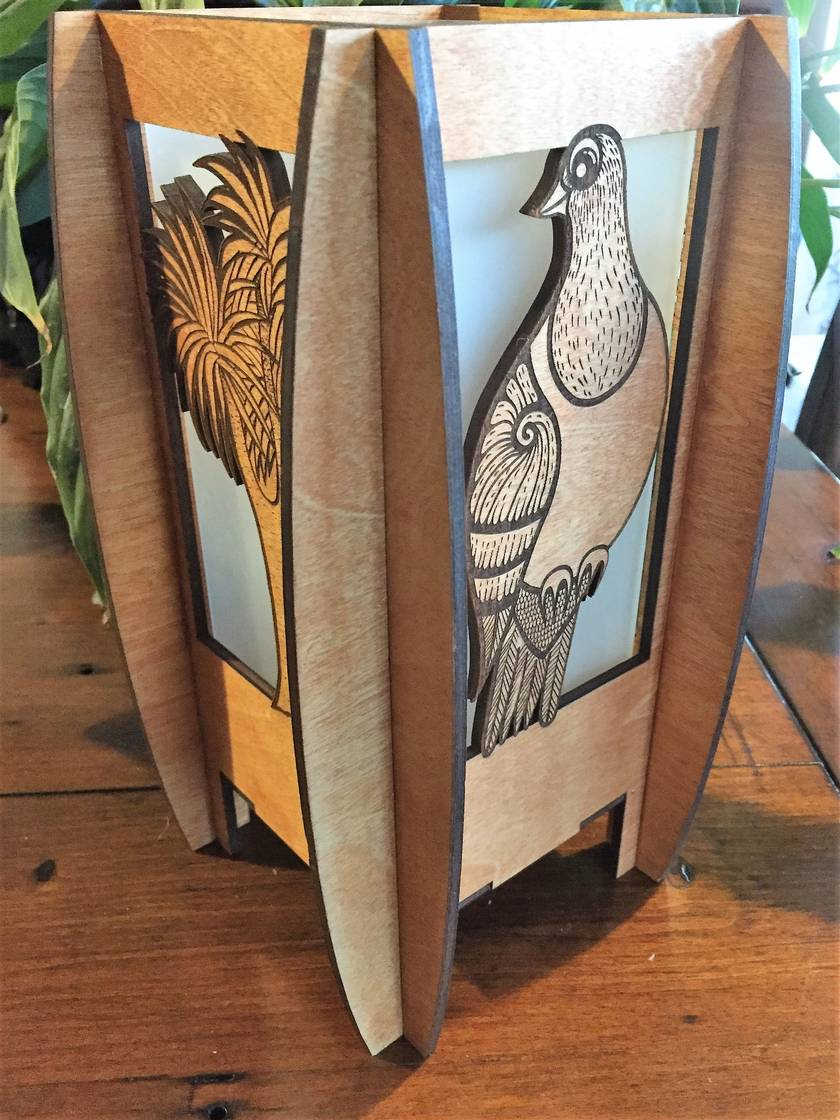 Kereru birch laser cut and engraved table lamp (electric)