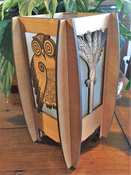 Morepork birch laser cut and engraved table lamp (electric)