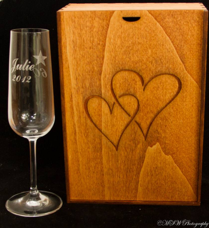 Pair of laser engraved toasting flutes with hand made box